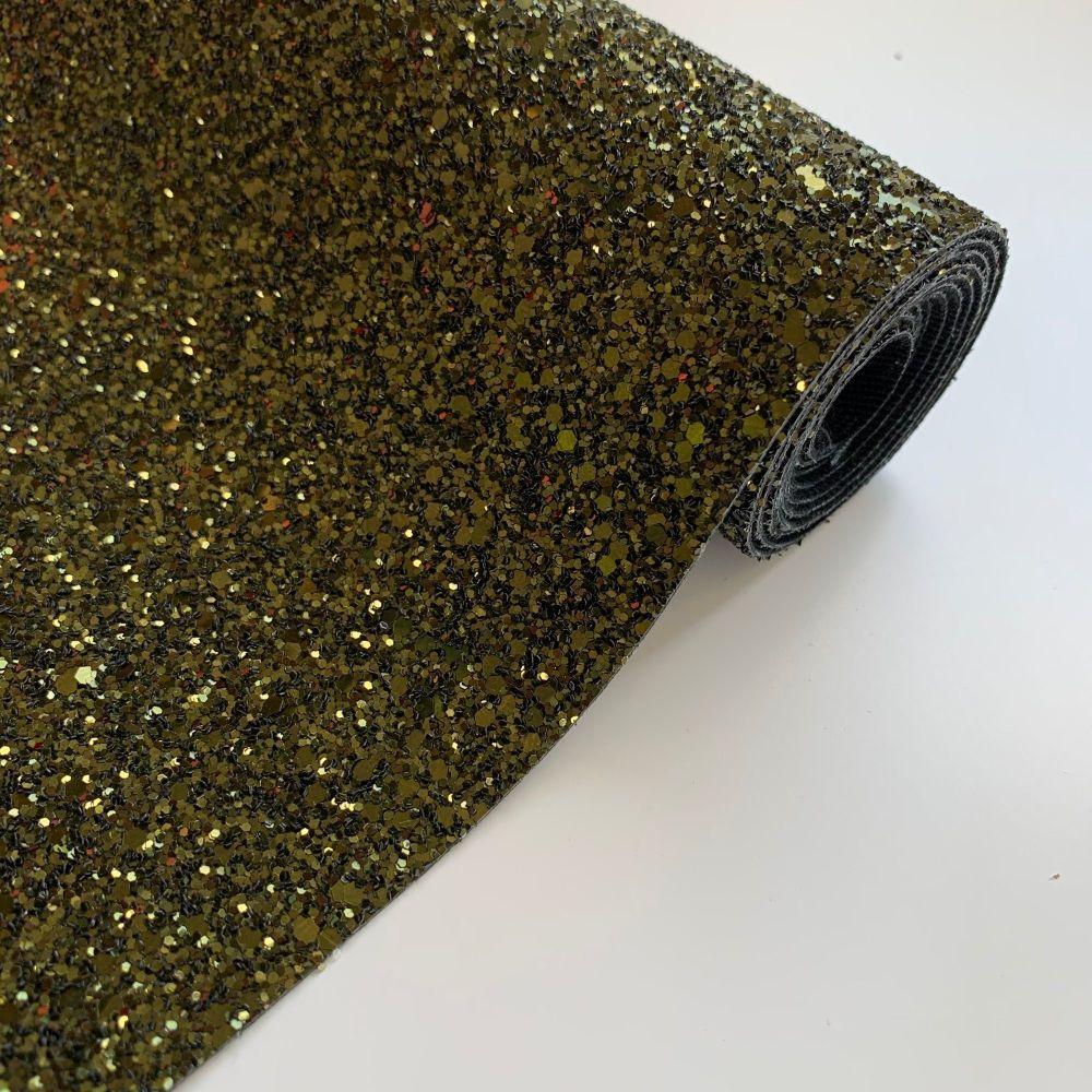 Premium Chunky Glitter Fabric - Khaki