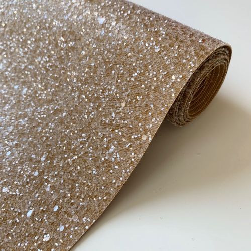 Premium Frosted Glitter Fabric - Gingerbread