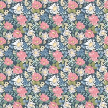 Poppie Cotton - Country Roads Navy Floral