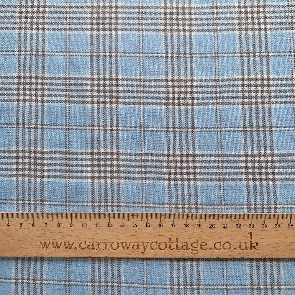 Tartan - Baby Blue - Felt Backed Fabric
