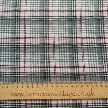 Tartan - Pink and Grey Small Check - Felt Backed Fabric