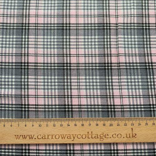 Tartan - Pink and Grey Small Check - Felt Backed Fabric