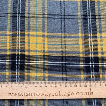Tartan - Grey and Mustard - Felt Backed Fabric