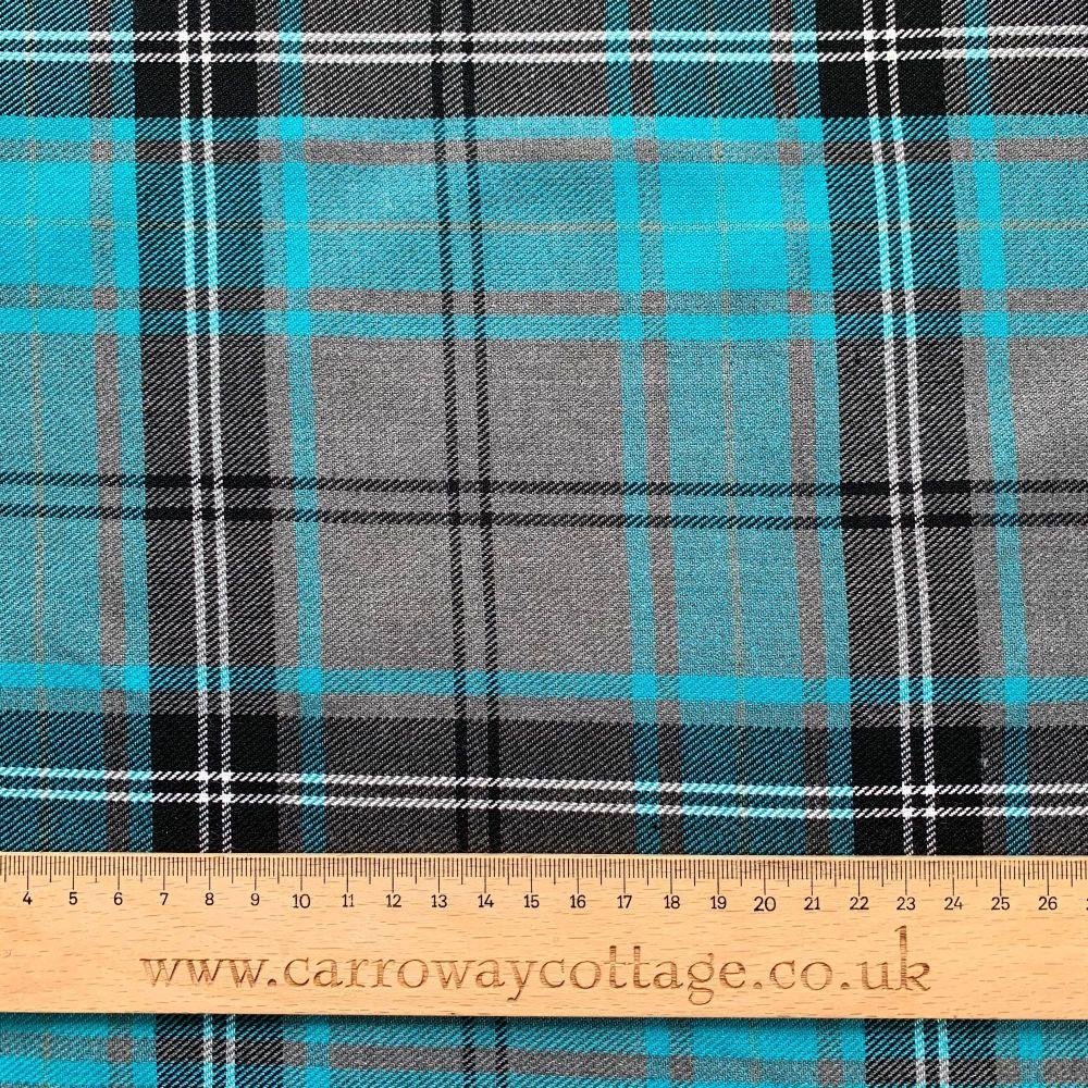 Tartan - Grey and Blue - Felt Backed Fabric
