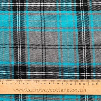 Tartan - Grey and Blue - Felt Backed Fabric