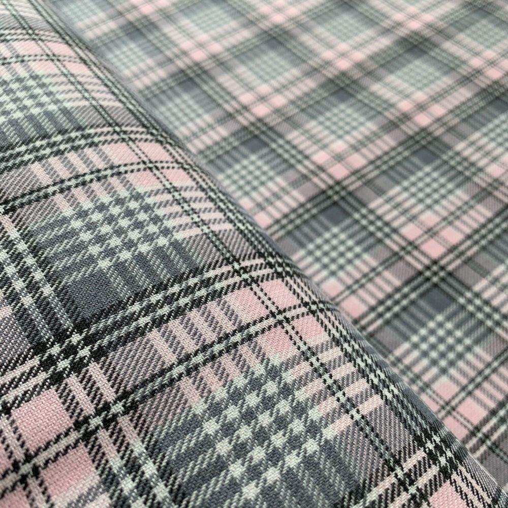 Polyviscose Tartan - Grey and Pink Small Check