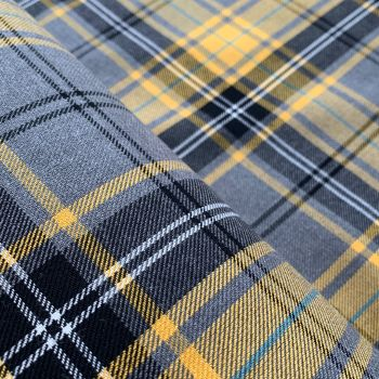 Polyviscose Tartan - Grey and Mustard Plaid