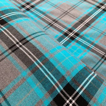Polyviscose Tartan - Grey and Blue Plaid
