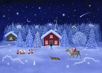 Lewis and Irene -  Tomten's Christmas - Double Border Panel 75cm