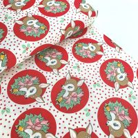 Moda Fabrics - Deer Christmas - Polka Dot Deer Red
