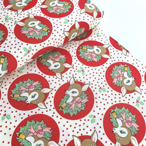 Moda Fabrics - Deer Christmas - Polka Dot Deer Red