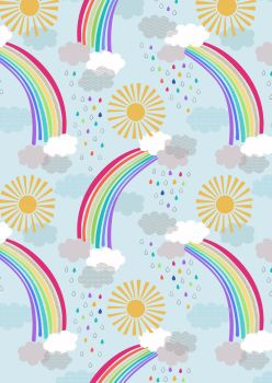 Lewis and Irene -  Rainbows - Pastel Rainbows on Light Blue