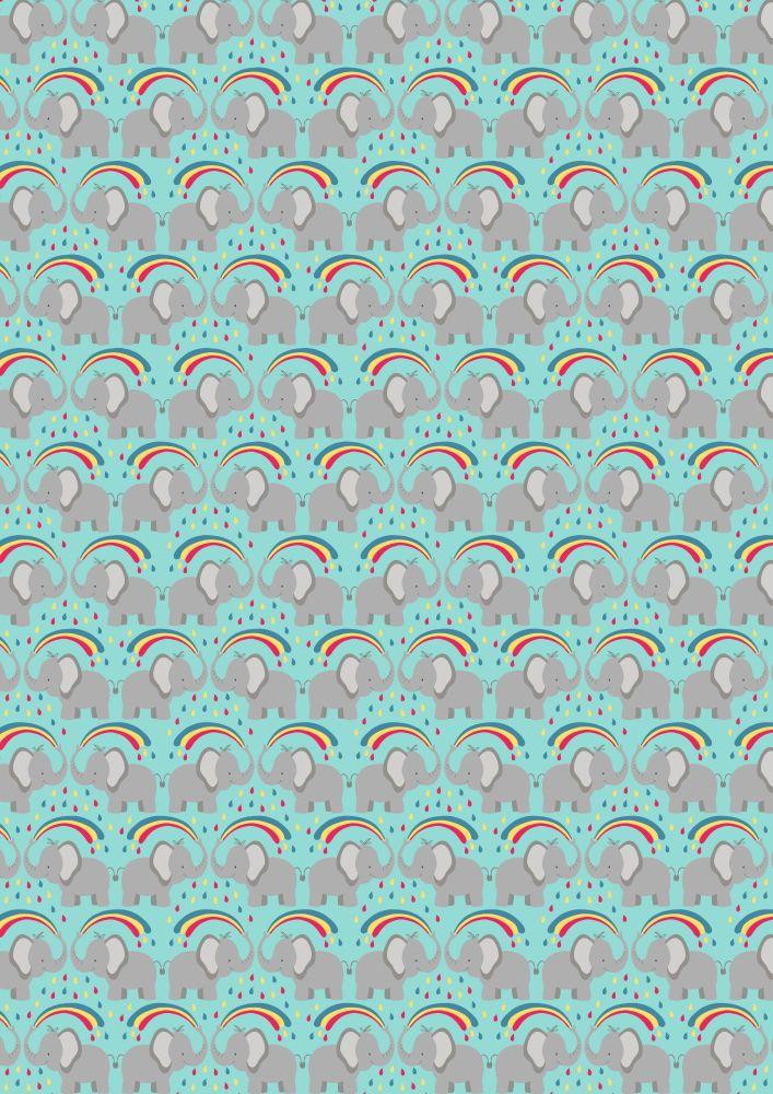 Lewis and Irene -  Rainbows - Rainbow Elephants on Blue