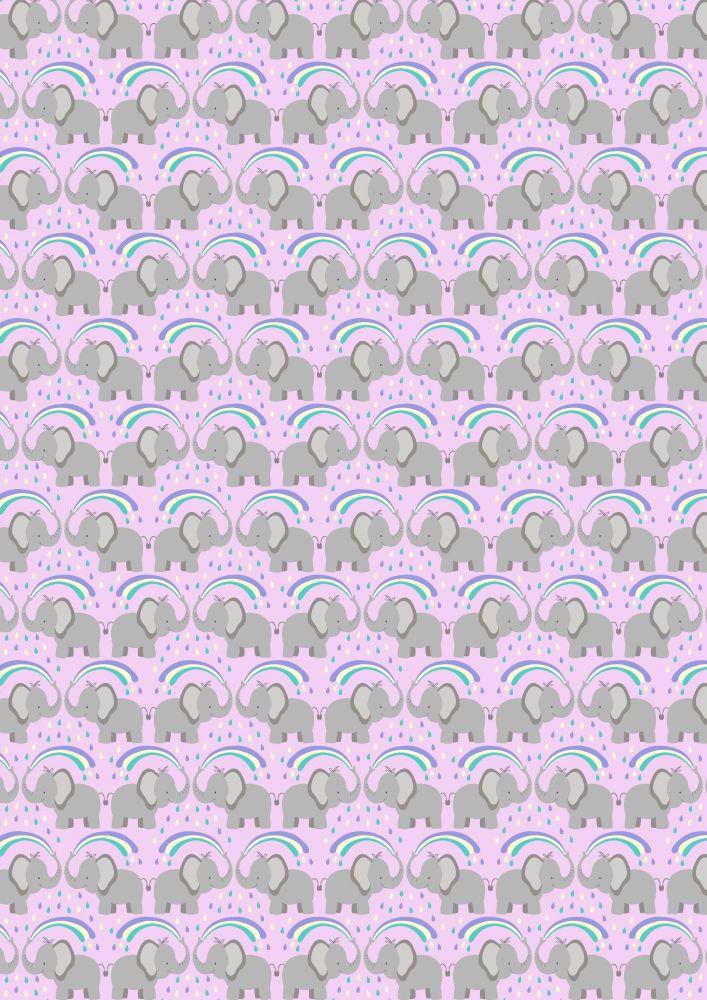 Lewis and Irene -  Rainbows - Rainbow Elephants on Light Lilac