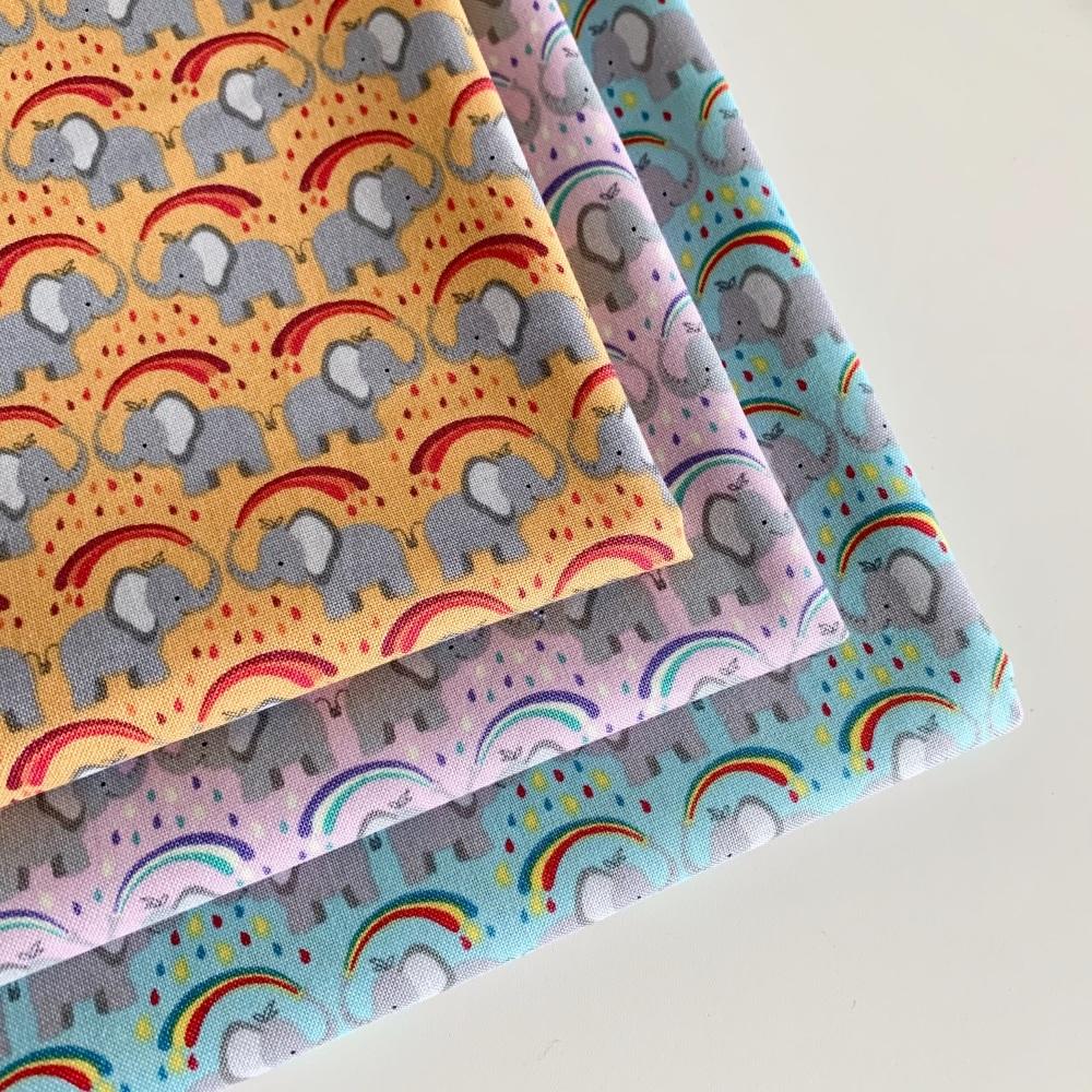 Lewis and Irene - Rainbows - Rainbow Elephants - Felt Backed Fabric