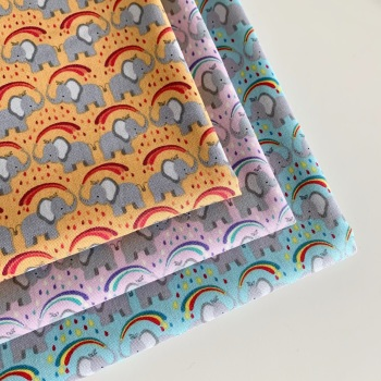 Lewis and Irene - Rainbows - Rainbow Elephants - Felt Backed Fabric