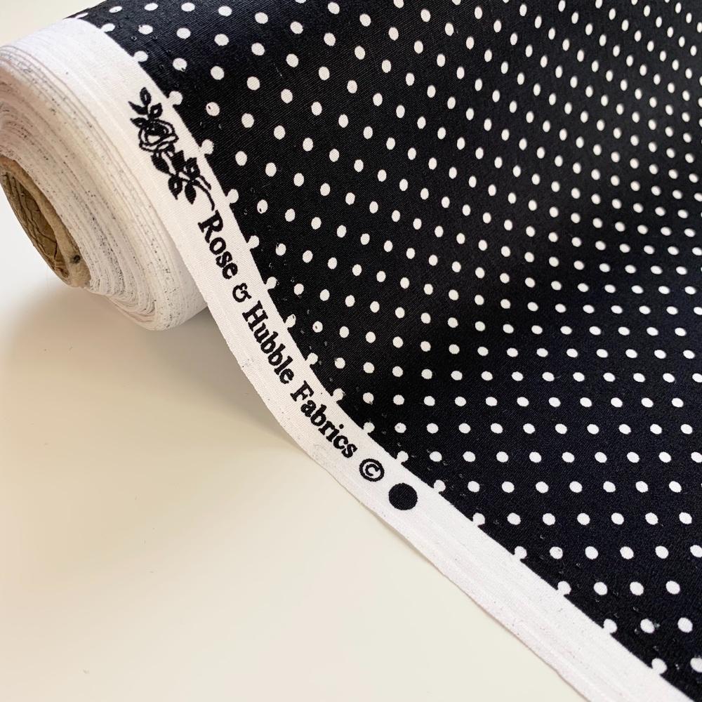 Rose and Hubble Fabrics - 100% Cotton Poplin  3mm Spots Polka Dot Black