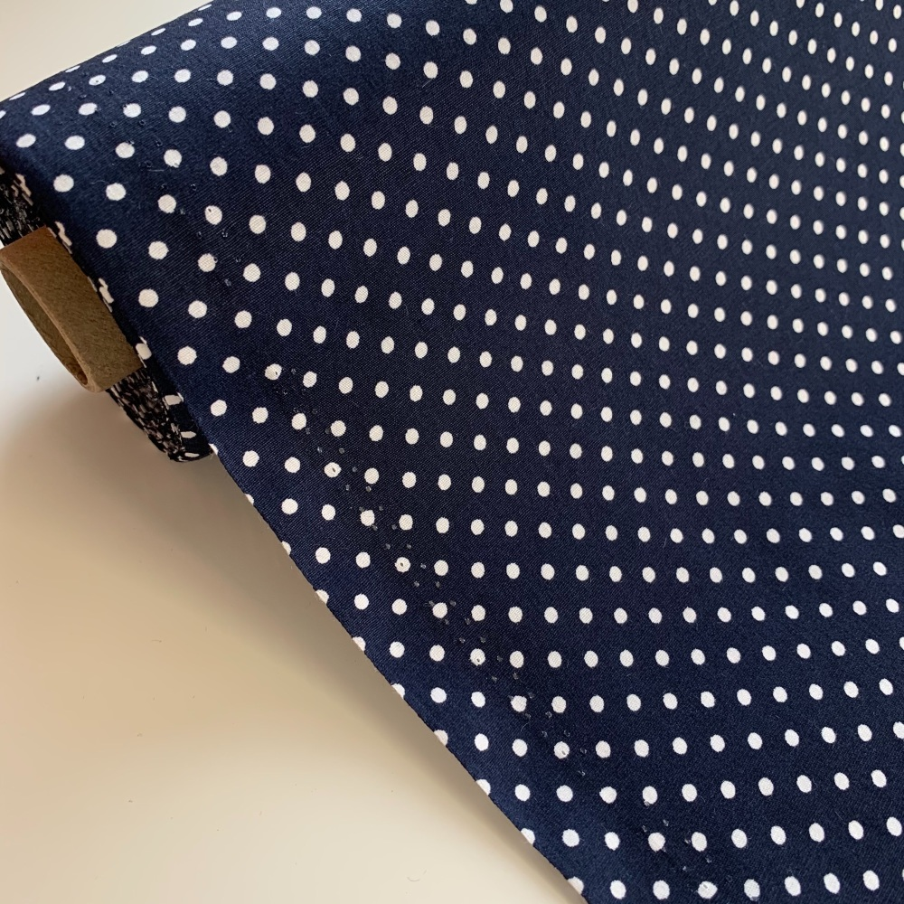Rose and Hubble Fabrics - 100% Cotton Poplin  3mm Spots Polka Dot Navy