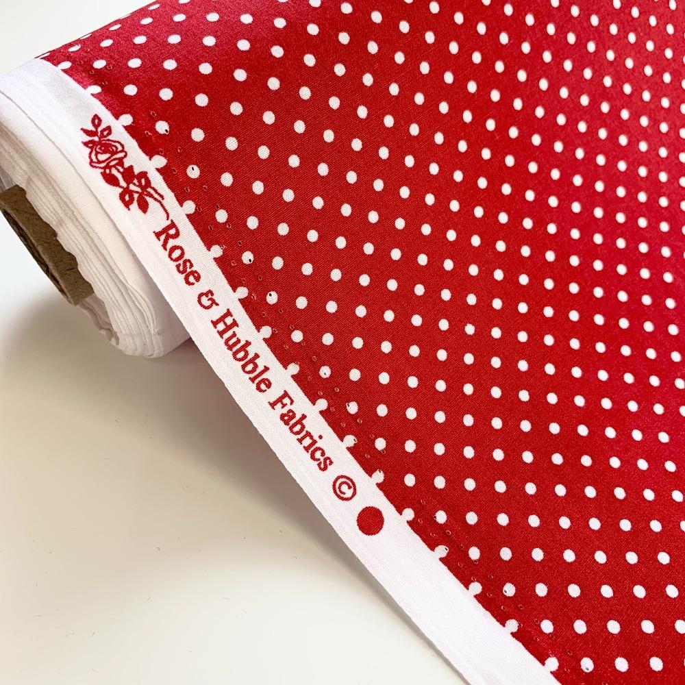 Rose and Hubble Fabrics - 100% Cotton Poplin  3mm Spots Polka Dot Red