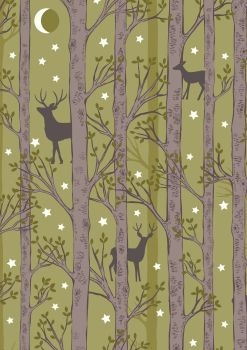 Lewis and Irene -  Nighttime in Bluebell Wood - Forest Deer on Leaf Green- Glow in the Dark