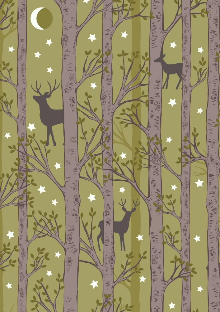 Lewis and Irene -  Nighttime in Bluebell Wood - Forest Deer on Leaf Green-