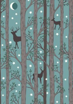 Lewis and Irene -  Nighttime in Bluebell Wood - Forest Deer on Blue - Glow in the Dark