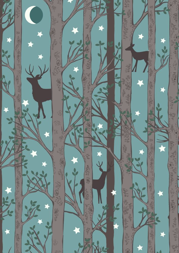 Lewis and Irene -  Nighttime in Bluebell Wood - Forest Deer on Teal Blue -