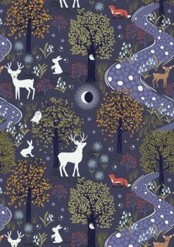Lewis and Irene -  Nighttime in Bluebell Wood - Glow in the Woods Midnight Blue - Glow in the Dark