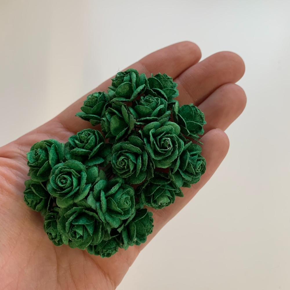 <!--038--> Mulberry Paper Open Roses - Olive Green 10mm 15mm 20mm