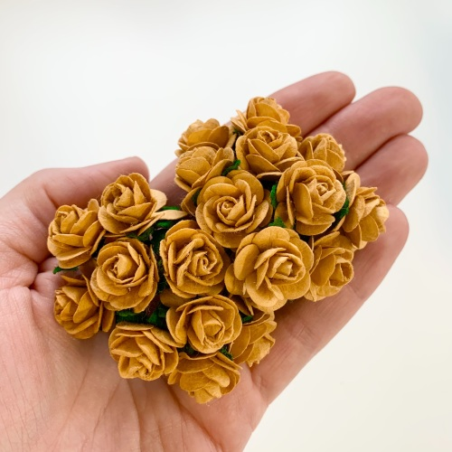 <!--010--> Mulberry Paper Open Roses - Mustard 10mm 15mm 20mm