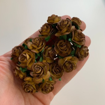 Mulberry Paper Open Roses - Two Tone Chocolate 10mm 15mm 20mm