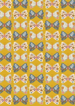 Meadow Safari Needlecord Corduroy Dashwood Studio - Butterflies