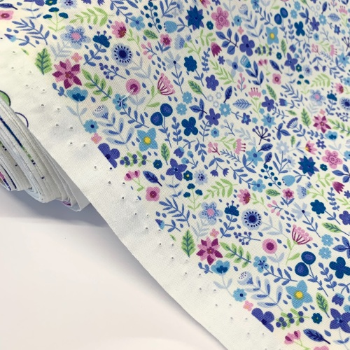 Rose and Hubble Fabrics - 100% Cotton Poplin All the Flowers Blue