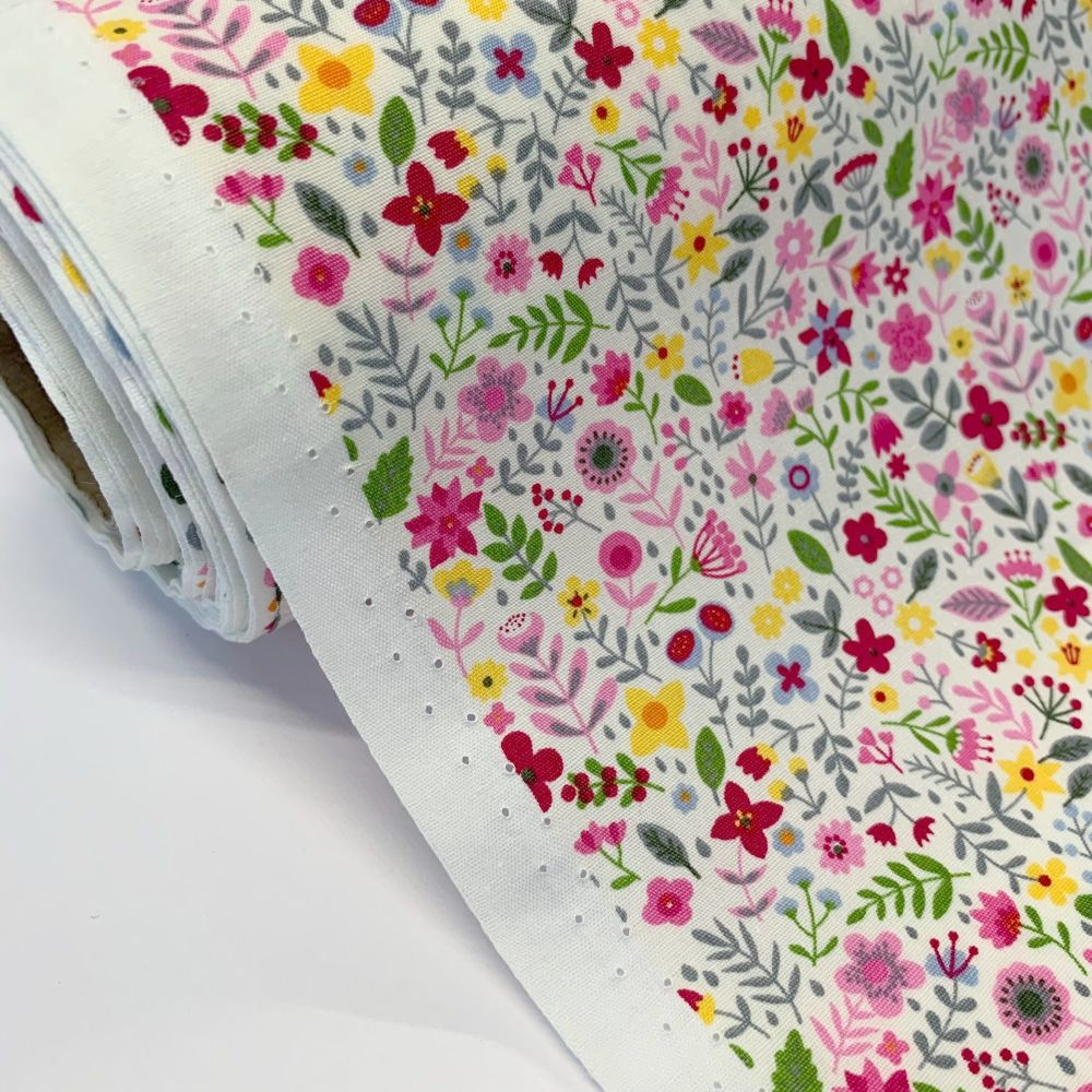 Rose and Hubble Fabrics - 100% Cotton Poplin All the Flowers Pink