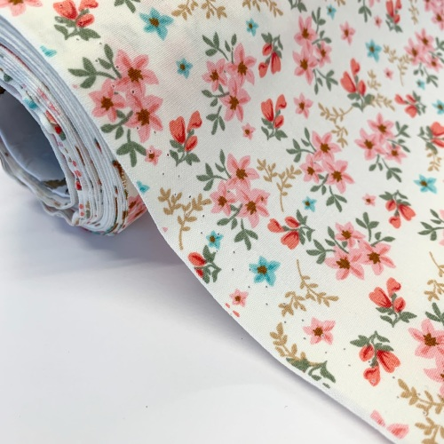Rose and Hubble Fabrics - 100% Cotton Poplin Blooms  Coral