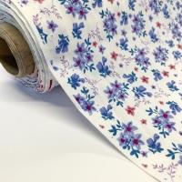 Rose and Hubble Fabrics - 100% Cotton Poplin Blooms  Blue