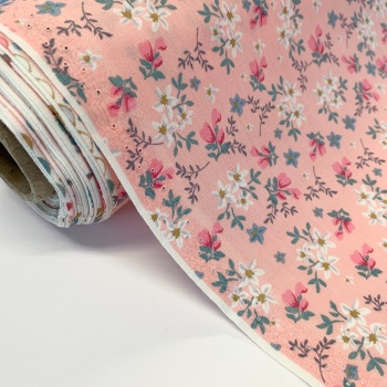 Rose and Hubble Fabrics - 100% Cotton Poplin Blooms  Pink