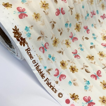 Rose and Hubble Fabrics - 100% Cotton Poplin Dancing Butterflies Ivory