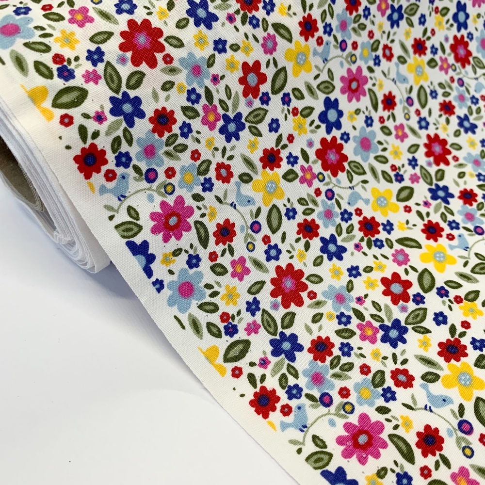 Rose and Hubble Fabrics - 100% Cotton Poplin  Flower and Birds Red and Blue