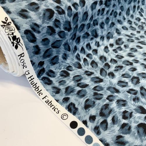 Rose and Hubble Fabrics - 100% Cotton Poplin Leopard Grey
