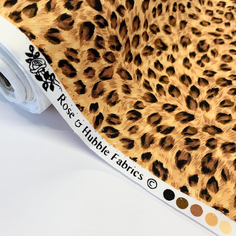 Rose and Hubble Fabrics - 100% Cotton Poplin Leopard Tan