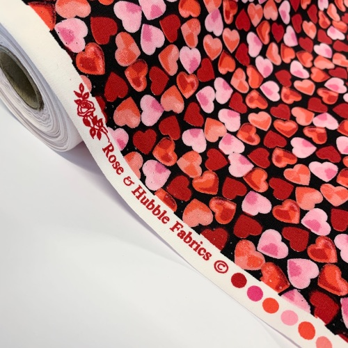 Rose and Hubble Fabrics - 100% Cotton Poplin  Scattered Hearts  - Black