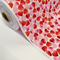 Rose and Hubble Fabrics - 100% Cotton Poplin  Scattered Hearts  - White