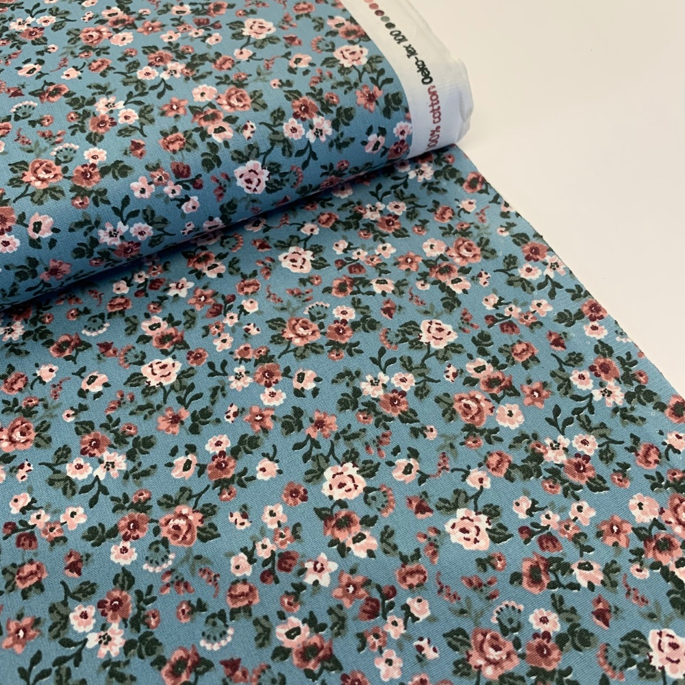 Poppy Europe Fabrics - Romantic Flowers - Blue
