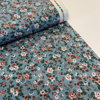Poppy Europe Fabrics - Romantic Flowers - Blue
