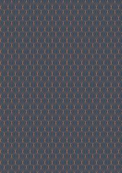 Lewis and Irene -  Marvellous Metallics - Copper Geometric on Navy