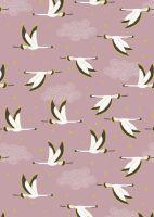 Lewis and Irene -  Jardin de Lis - Flying Herons on Rose Pink with Metallic