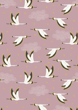 Lewis and Irene -  Jardin de Lis - Flying Herons on Rose Pink with Metallic
