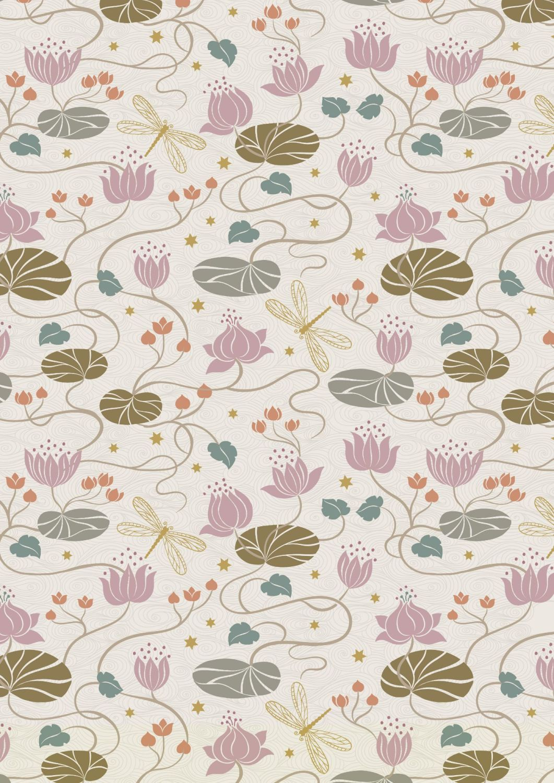 Lewis and Irene -  Jardin de Lis - Lillies on Cream with Metallic