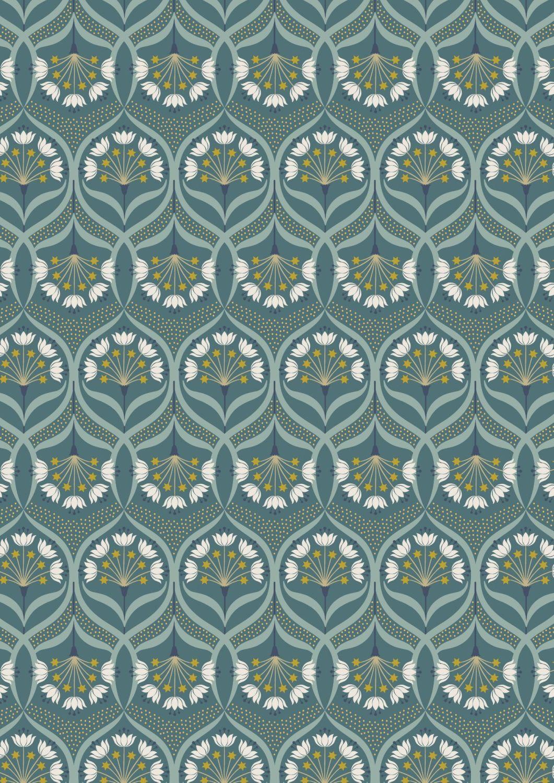Lewis and Irene -  Jardin de Lis - Star Floral on Jade with Metallic
